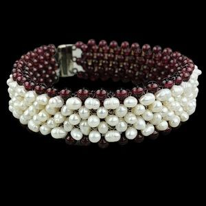 VTG Jay King Pearl & Beaded Reversible Bracelet